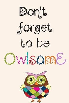 Don't forget to be owlsome Pinned by www.myowlbarn.com