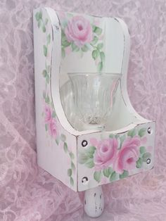 ROMANTIC ROSE CANDLE WALL SCONCE hp chic shabby vintage cottage hand painted art  | eBay