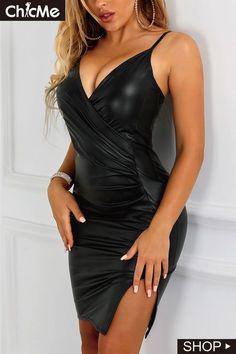 a3df049ea8 Spaghetti Stap Wrap Ruched Side Slit PU Dress Simple Dresses