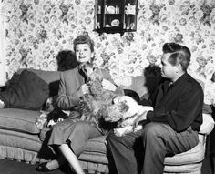 Lucille Ball and Desi Arnaz with their cocker spaniels