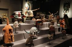 Antique tribal masks, revered as sacred ritual artifacts by the Hopi Native American tribe in Arizona, are displayed at an auction house in Paris, April 11, 2013.