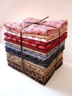 civil war fabric fat quarters | Civil War Reproduction Red, Navy, and Brown 20 Fat Quarter Bundle ...