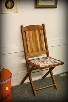 Floral vintage wooden folding chair