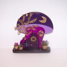 Purple Mushroom Fairy Door by filigreefairy on Etsy, $70.00