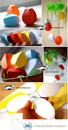 Easter Paper Crafts--- or tiny paper lanterns for string lights! by tabatha Origami, Crafts To Do, Crafts For Kids, Easter Coloring Pages, Paper Lanterns, Spring Crafts, Easter Crafts, Paper Flowers, Paper Art
