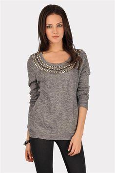 Sunday Funday Beaded Sweater - Grey