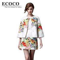 Limited 2016 New Arrival Vintage Slim Flowers Print Elegant Long Sleeve Crop Top Short Skirt Women Suit 2 Piece Skirt Sets D850 //   Цена: $ US $55.80 & Бесплатная доставка //    #fashionmartonline #мода #стиль