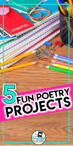 Here are five fun poetry projects that you can use in your middle school ELA or high school English classroom. These fun poetry projects work perfectly with any poetry unit! - Fun Poetry Projects for Secondary ELA Middle School Ela, Middle School English, Middle School Art Projects, School Projects, School Ideas, Poetry Lessons, Math Lessons, Poetry Projects, Poetry Activities