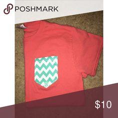 Girlie girl original pocket-T Coral pocket T with chevron detail. Super cute! Girlie girl original  Tops Tees - Short Sleeve