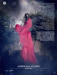 Jasmine from Aladdin, at Harrods november editorial. Disney Princesses by fashion designers.