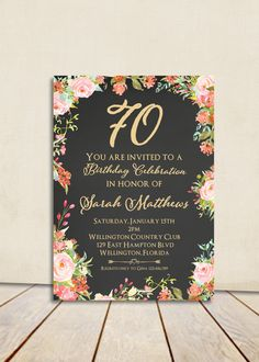 Cottage Chic Chalkboard 80th Birthday Invitation Any Age Adult Gold
