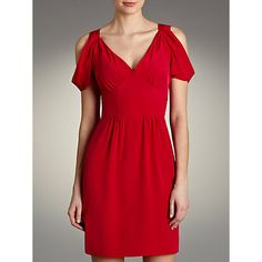 Buy Hoss Intropia Silk Shoulderless Dress, Strawberry Online at johnlewis.com