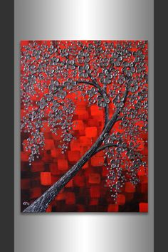 Original Contemporary Art Metallic Silver Flowers Texture Tree of Life Painting Abstract Black Red Landscape 18x24 Float Canvas by ZarasShop