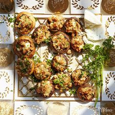 This six-ingredient mushroom stuffing provides a savory crunch and golden brown finish. With toasted walnuts, dried bread crumbs, and crumbled blue cheese, these mini appetizers should be enjoyed in one bite!/