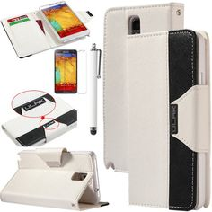 Pandamimi ULAK(TM) Luxury PU Leather Wallet Flip Pouch Case Stand Cover For Samsung Galaxy Note 3 N9000 W/Screen Protector 1xTouch Stylus (White/Black) ULAK http://www.amazon.com/dp/B00G45PVK4/ref=cm_sw_r_pi_dp_LzGkub1GQ40AB