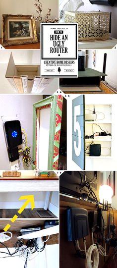 auch ein guter tipp router samt kabelsalat hinter einem kunstwerk einer pinnwand einer. Black Bedroom Furniture Sets. Home Design Ideas