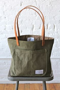 WWII era Military Canvas Pocket Tote Bag - FORESTBOUND