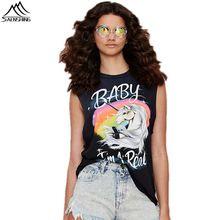NUEVO 2016 Verano Mujer Casual Unicornio T-shirt Punk Letras Impresas Blusa Tops…