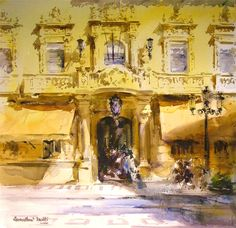 Laurentino Martí, acuarela Marti, Spanish Art, City Scene, Watercolor Art, Sketches, Watercolors, Boats, Journaling, Cities