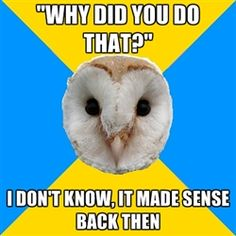"""Bipolar Owl - """"WHY DID YOU DO THAT?"""" I DON'T KNOW, IT MADE SENSE BACK THEN"""