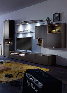 Beautiful elegante Schrankwand Andiamo Matt schwarz lackiert sorgt die Wohnwand f r ein edles Ambiente in deinen