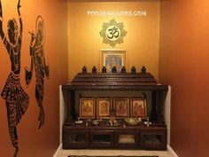 Create these smart, trendy pooja room designs in living room. These stunning pooja room designs in living room will add beauty and serenity to your house. Temple Design For Home, Home Temple, Temple Room, Interior Design Videos, Interior Ideas, Interior Decorating, Mandir Design, Pooja Mandir, Pooja Room Door Design