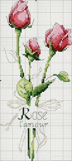 Embroidery Patterns Cross Stitch Flowers Bloemen New Ideas Cross Stitch Love, Cross Stitch Flowers, Counted Cross Stitch Patterns, Cross Stitch Charts, Cross Stitch Designs, Cross Stitch Embroidery, Cross Stitch Rose Pattern, Ribbon Embroidery, Embroidery Patterns