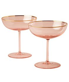 These elegant blush glasses come in a set of two and will add a bit of old Hollywood glamour to your holiday party table.