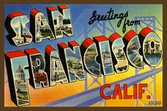 San Francisco California Large Letter 1   - 1930 Postcard. Quilt Block printed on cotton. Ready to sew. Single 4x6 block $4.95.