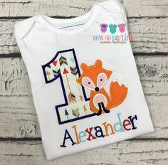 1st Birthday Fox Shirt  Woodland Birthday Shirt  by SewSoDarling
