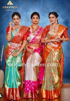 Silk Sarees by Aravinda Design Studio - Saree Blouse Patterns Wedding Saree Blouse Designs, Pattu Saree Blouse Designs, Half Saree Designs, Blouse Designs Silk, Blouse Patterns, Bridal Sarees South Indian, Bridal Silk Saree, Indian Bridal Outfits, Indian Bridal Fashion