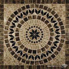 Helios 36 x 36 Square Marble Medallion. Glass, Tile, Home, M Stone Backsplash, Mosaic Backsplash, Marble Mosaic, Stone Tiles, Mosaic Art, Mosaic Glass, Mosaic Tiles, Mosaics, Travertine Tile