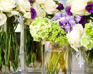 green, ivory, purple flowers