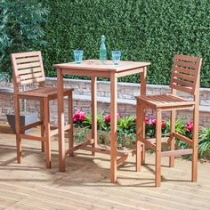 Wooden Bar Table and Chairs - Bistro Sets - Garden Furniture Garden Dining Set, Patio Dining, Outdoor Dining, Outdoor Decor, Outdoor Spaces, Indoor Outdoor, Outdoor Tables And Chairs, Garden Table And Chairs, Garden Furniture Sets