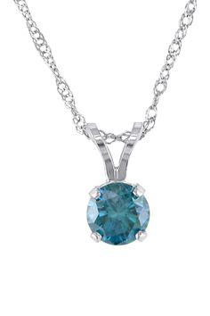 14K White Gold Blue Diamond Solitaire Pendant Necklace - 0.50 ctw