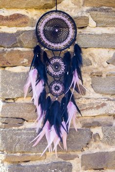 Medium black dream catcher with light purple feathers. Beautiful detail for modern bedroom interior. Gift for girly or for girlfriend. Dreamcatcher Wallpaper, Dreamcatcher Design, Purple Dream Catcher, Dream Catcher Art, Paris Wallpaper, Geometric Tattoo Arm, Hearth And Home, Macrame Art, Beautiful Dream