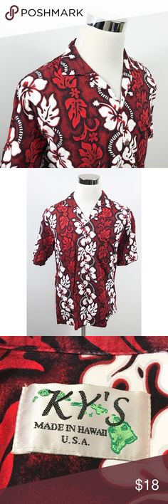 9a37c3c0ee638 Kys Mens Medium Hawaiian Aloha Shirt Red Floral Kys Mens Medium Hawaiian  Aloha Shirt Red White