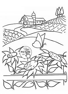 Summer and Sunflowers coloring page for kids, flower coloring pages printables free - Wuppsy.com
