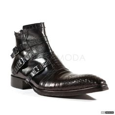 Jo Ghost Mens Italian Diver Black Exotic Boots (JG4100)