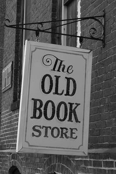 The Old Book - Vintage-inspired signage. Black and white photography.