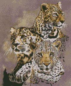 cross stitch kit shadow hunter leopard - Folksy