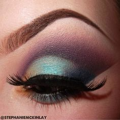 Green and Purple cut crease smokey eye makeup