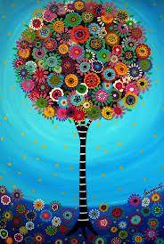 by Folk Artist Pristine Cartera-Mexican Folk Art Tree of Life Whimsical Bar Bat Mitzvah Painting PRINT Tree Of Life Painting, Tree Of Life Art, Art Original, Mexican Folk Art, Naive Art, Whimsical Art, Bat Mitzvah, Art Plastique, Tree Art