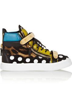Giuseppe Zanotti|London leather and printed silk-satin high-top sneakers
