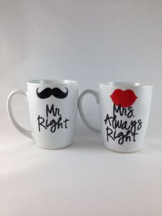 Mr Right Mrs Always Right Coffee Mug Set by BellaCuttery on Etsy, $24.00