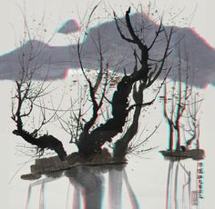 This is an anaglyph 3D conversion of Wu-Guanzhong's famous Chinese landscape painting. Red / cyan 3D glasses are required to view the image. You can click on the image to view it at full resolution.
