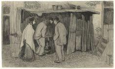 Jan de Waardt   Figuren voor een stalletje, Jan de Waardt, 1875 - 1900   Vrouw met omslagdoek en mutsje; man met pet op de rug gezien; vrouw in het zwart, frontaal; man met pet op de rug gezien. De mannen hebben de handen in de zakken. Ze staan allen voor een stalletje dat op straat tegen de muur van een huis is gebouwd. Tussen de eerste man en de tweede vrouw staat een stoof.