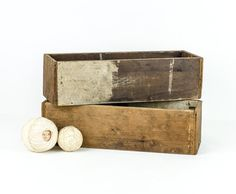 Pair of Rustic Wood Boxes / Primitive Crates by tawneyvintage, $35.00
