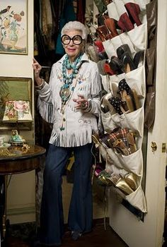 Legendary tastemaker, fashion and style icon Iris Barrel Apfel at her Manhattan, New York apartment.