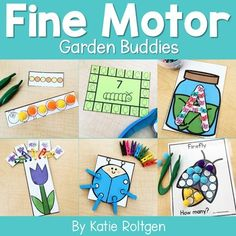 These 10 garden buddies fine motor skills activities are perfect for preschool, kindergarten, or homeschool students. The activities can be performed multiple ways, as the activities will always help develop the budding fine motor skills of prek or kinder students. Some of the activities are printables, while others require little prep work like laminating. Perfect for small groups, morning tubs, centers, or any time you want your students to practice their fine motor skills. #finemotorskills